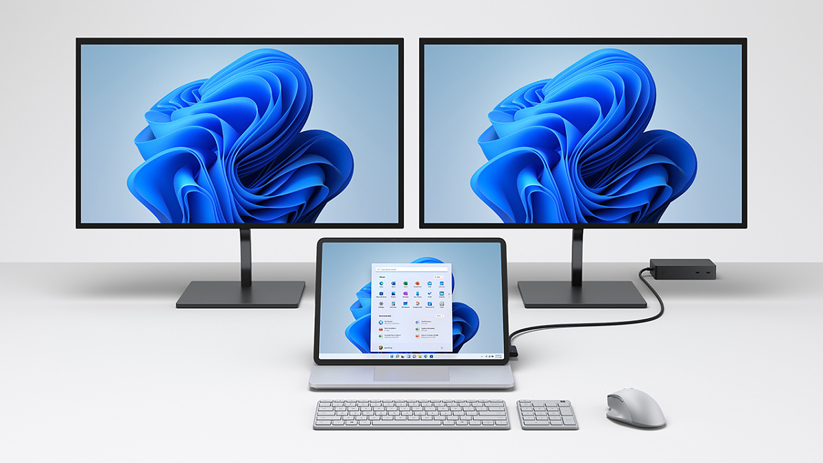 Surface Laptop Studio connected to dual monitors