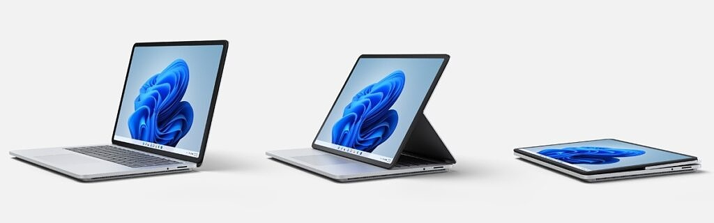 Surface Laptop Studio in laptop mode, stage mode, and studio mode