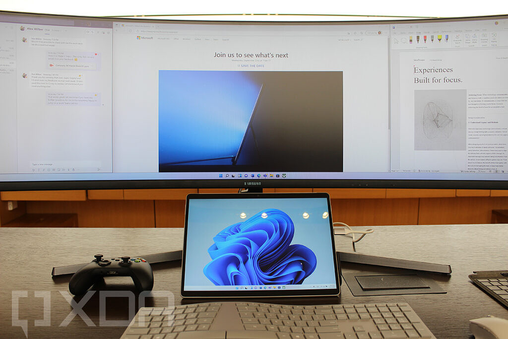 Surface Pro 8 connected to wide monitor