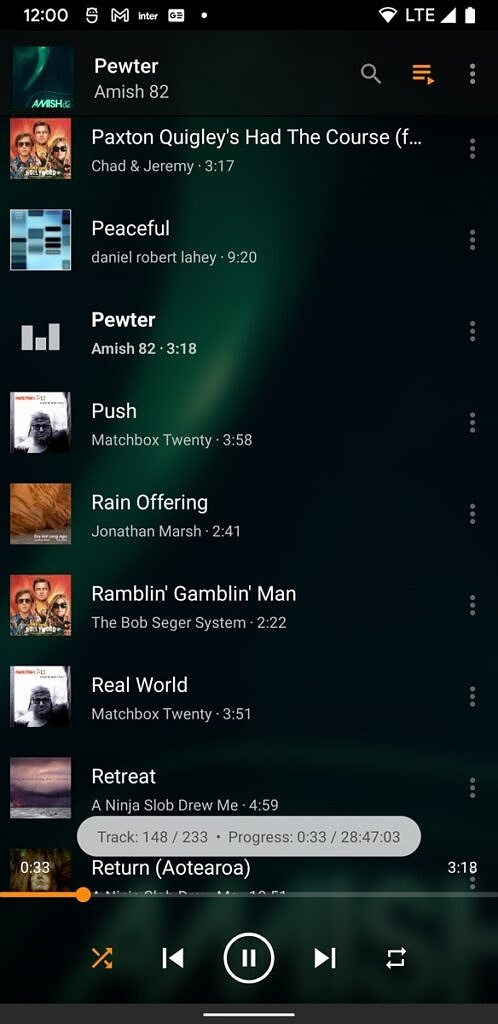 Updated playlist view in the VLC audio player