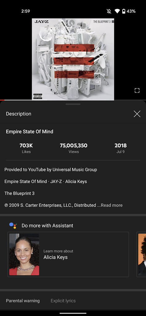 Empire state of mind assistant suggests learning about alicia keys