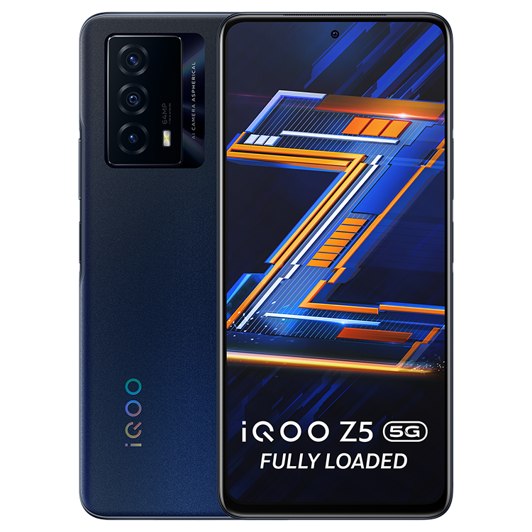 iQOO Z5 5G front and back in blue color
