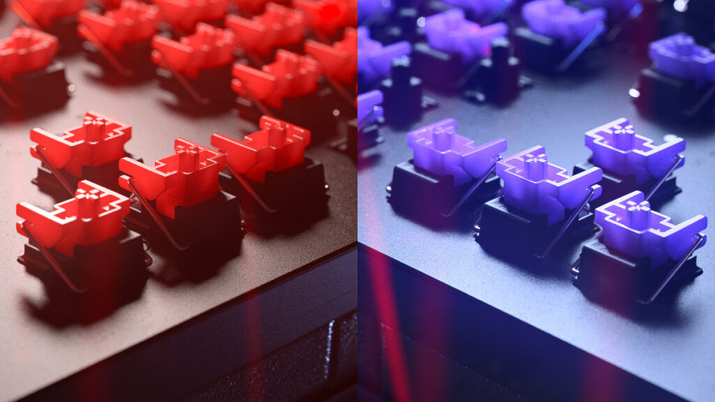 Red linear switches and purple clicky switches available inside the Razer Huntsman V2