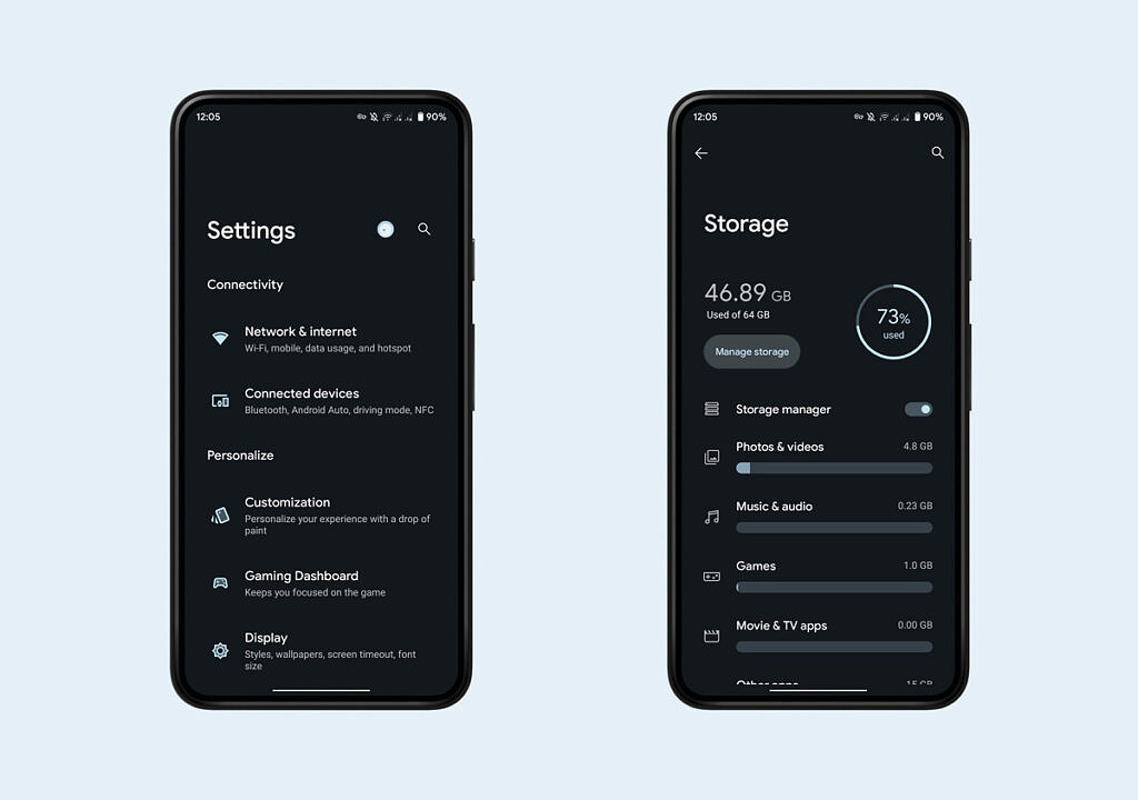 Settings page in DotOS ROM