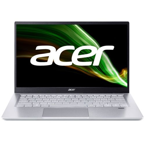 Silver colored Acer Swift 3 laptop on a white background