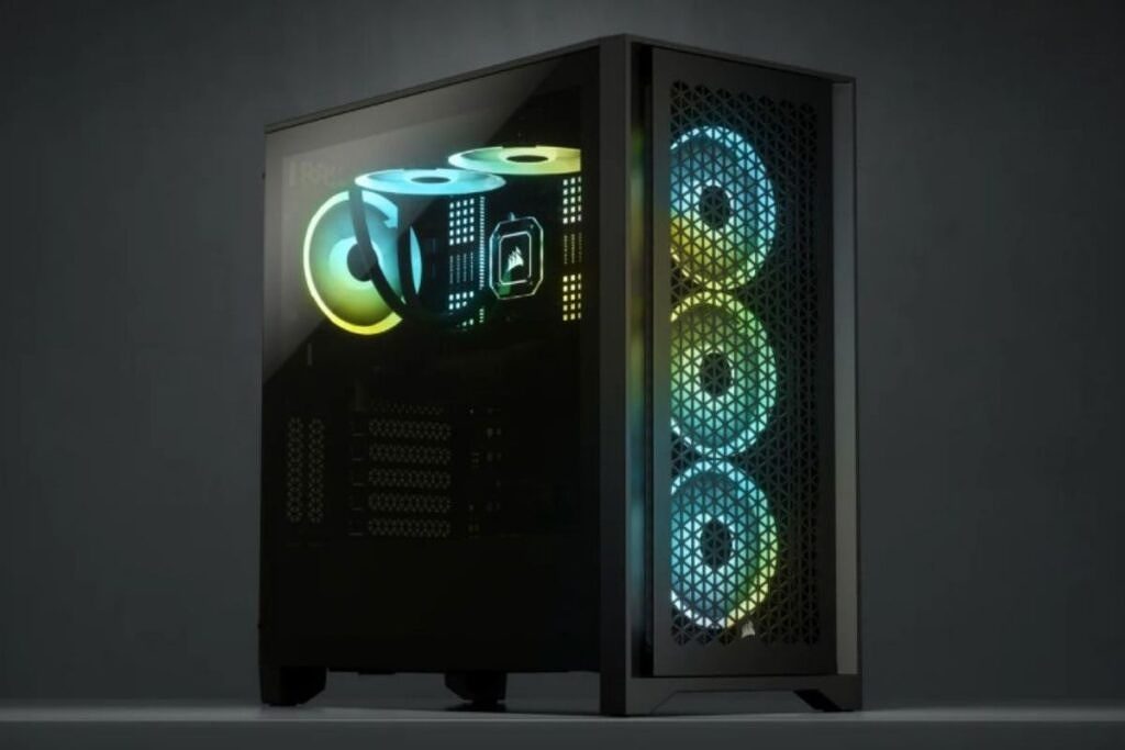 a black colored PC case with green and blue RGB lights