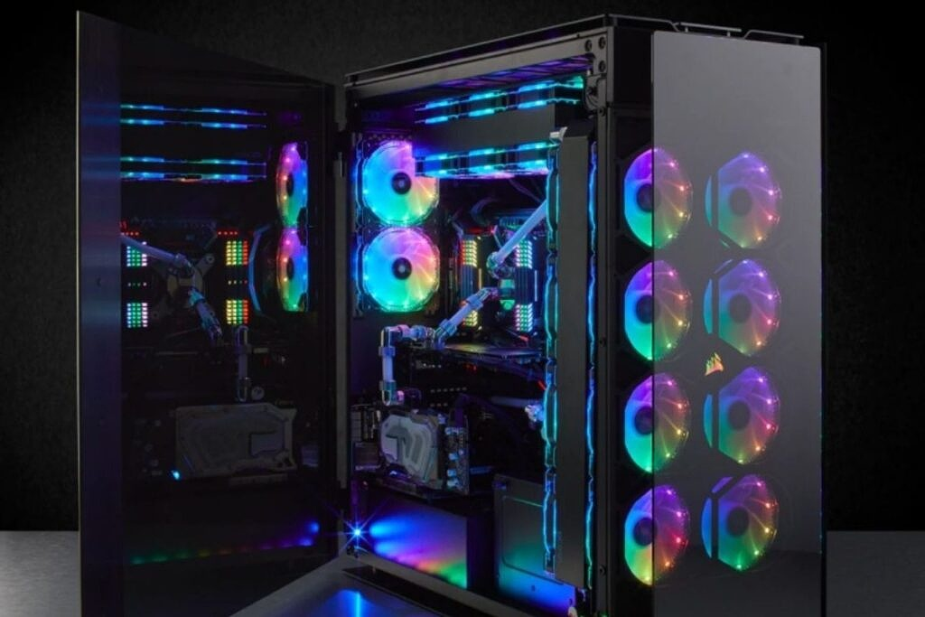 a black colored PC case with RGB lights and an open side panel