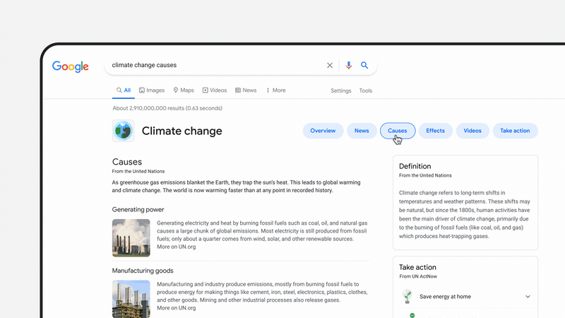 Google Search dedicated Climate Change page