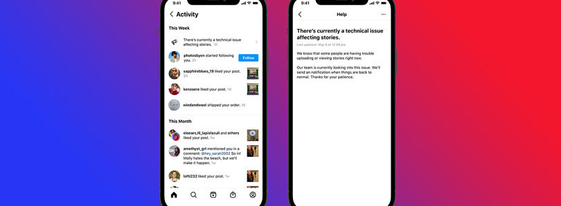 Instagram will now alert users of outages and technical issues