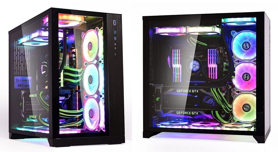 image of two black colored PC case with RGB lights inside
