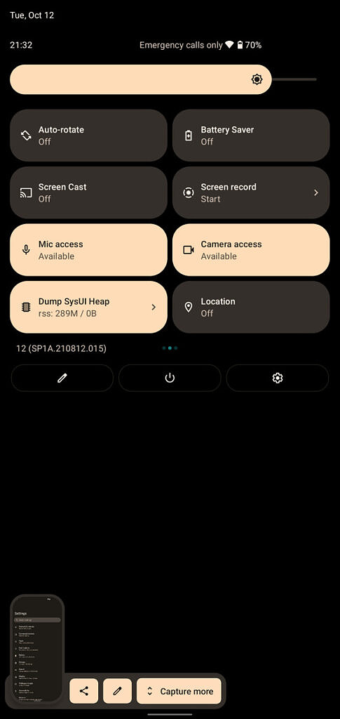 Android 12 Quick settings tiles in LineageOS 19