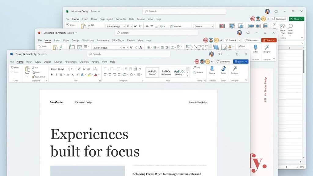 New visual design in Office 2021