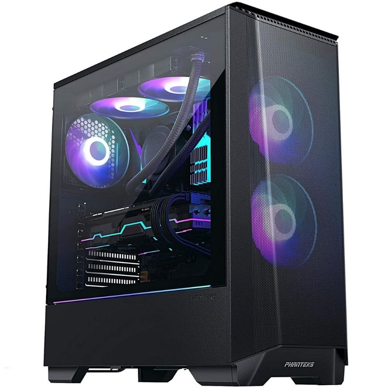 A black colored PC case with an RGB strip and two RGB fans on the front