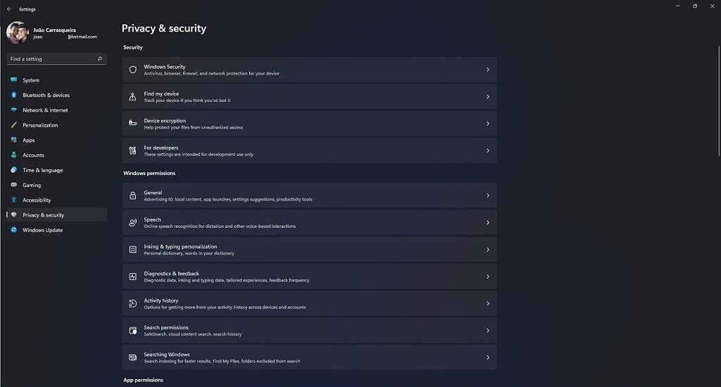 Privacy & Security section in the Windows 11 Settings app