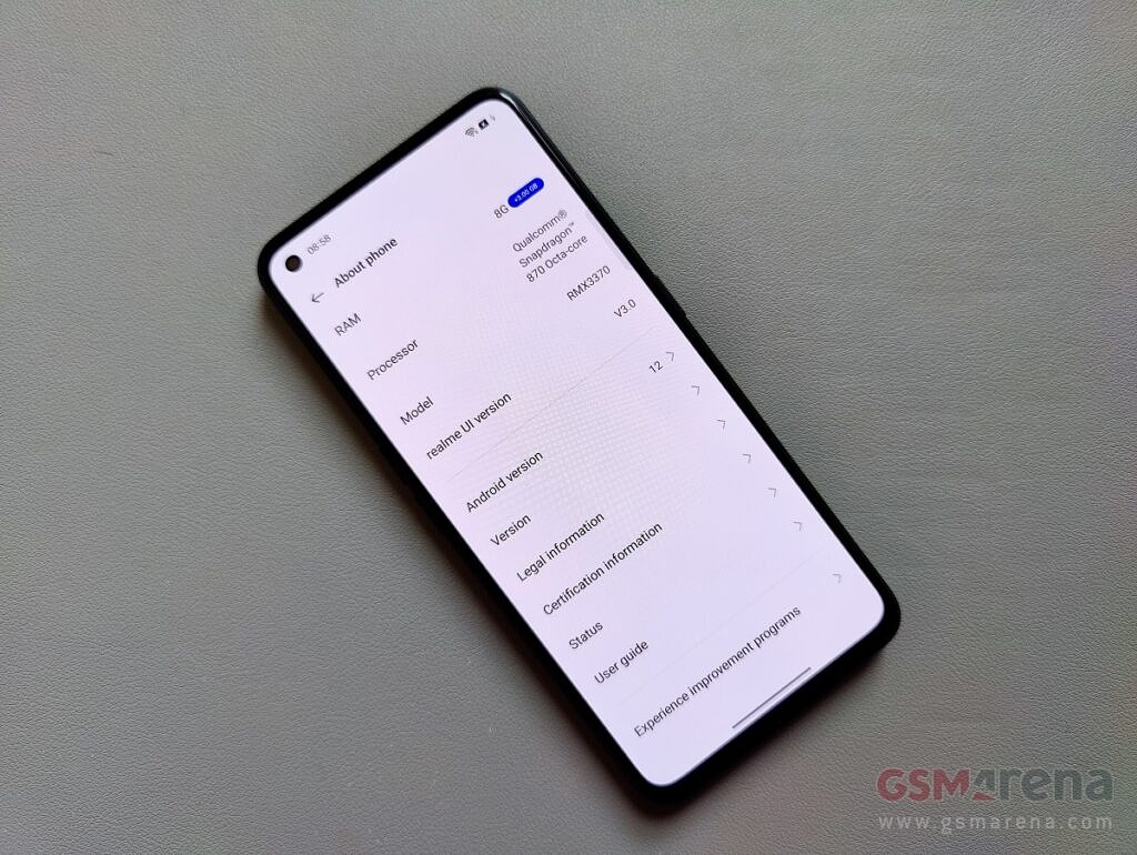 Leaked live image of the Realme GT Neo2 with Android 12