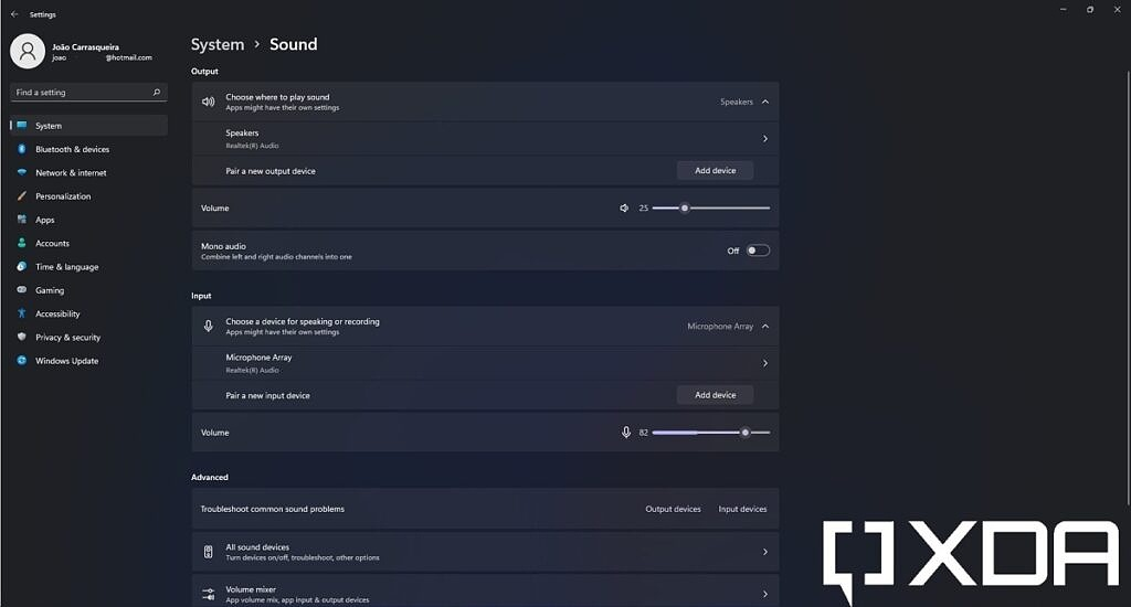 Sound page in System section of the Settings app