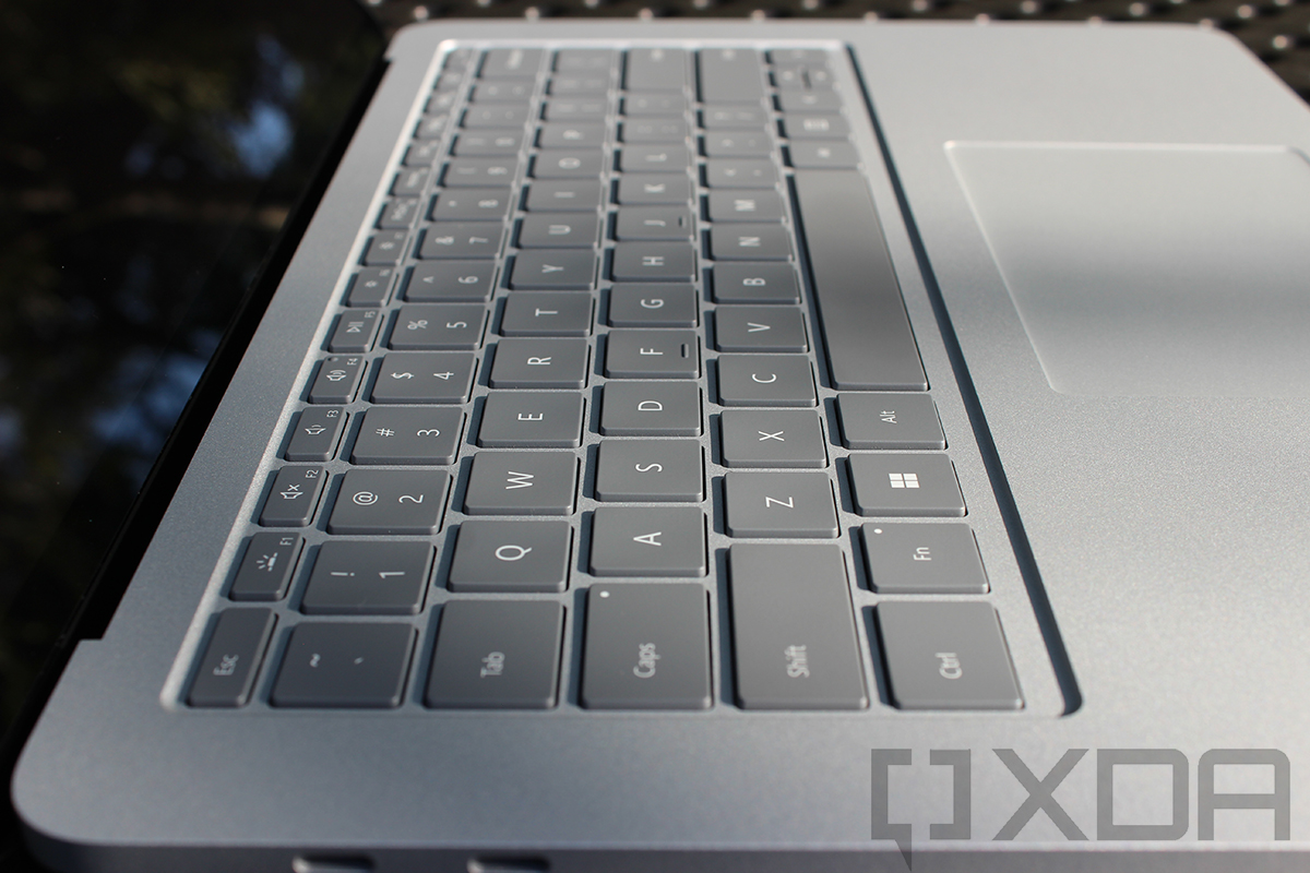 Angled view of Surface Laptop Studio keyboard