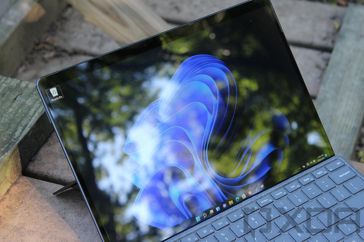 Angled view of Surface Pro 8 screen