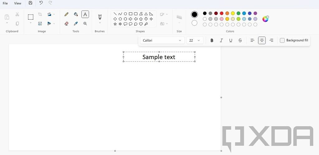 Text editing tools in Paint