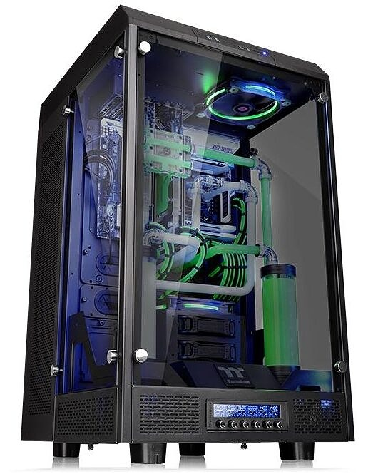 tall PC case with custom liquid cooling loop