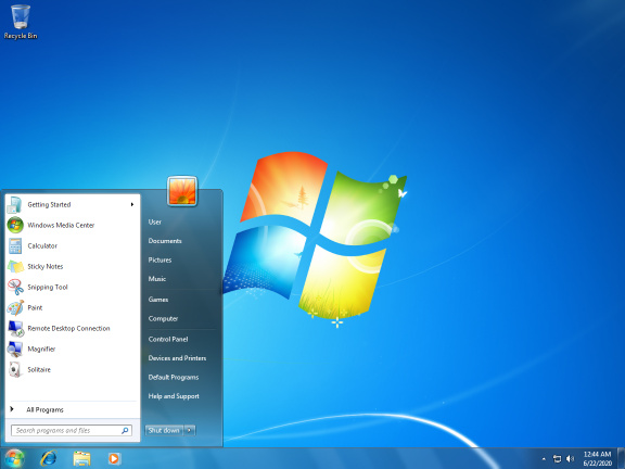 Screenshot of Windows 7 with Service Pack 1 installed
