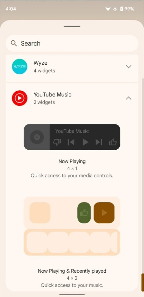 YouTube Music Now Playing & recently played widget in widget picker