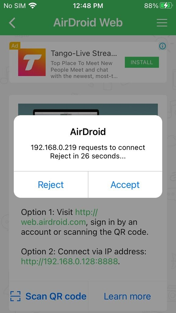 Airdroid PC connect