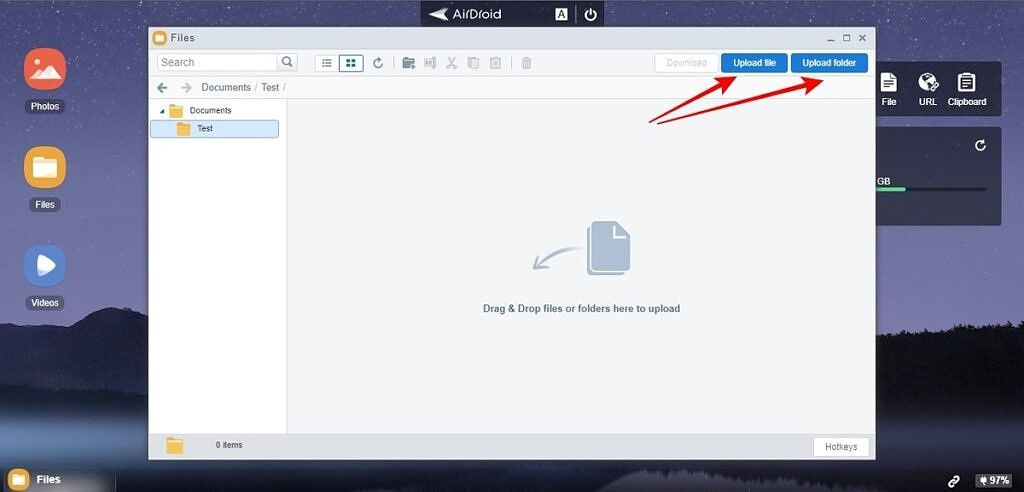 Airdroid PC upload