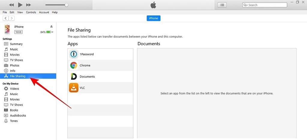 File Sharing on iTunes for Windows