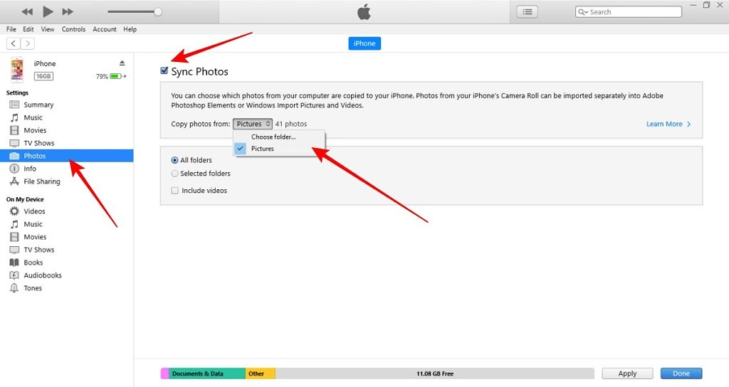 iTunes photos sync from PC